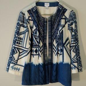 Chico's tribal ombre jacket sz 1